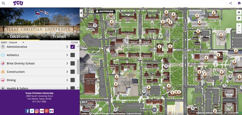 TCU Campus Map